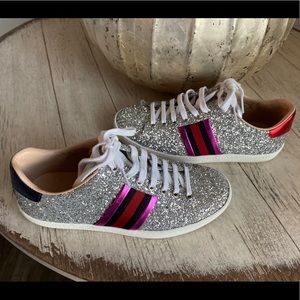 best cheap high fashion sold worldwide Gucci sneakers glitter. Exc condition. AUTHENTIC